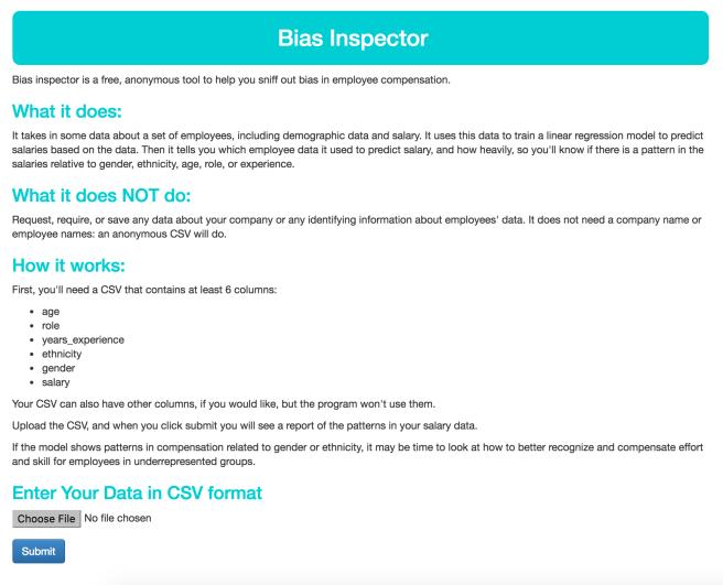 Bias Inspector Homepage